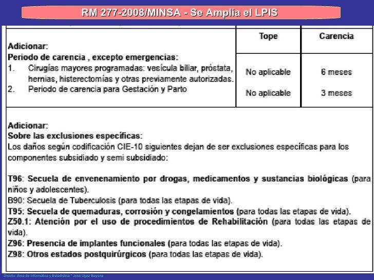 RM 277-2008/MINSA - Se Amplia el LPIS