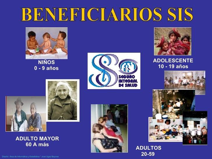 NIÑOS 0 - 9 años ADULTOS 20-59  ADOLESCENTE 10 - 19 años BENEFICIARIOS SIS ADULTO MAYOR 60 A más