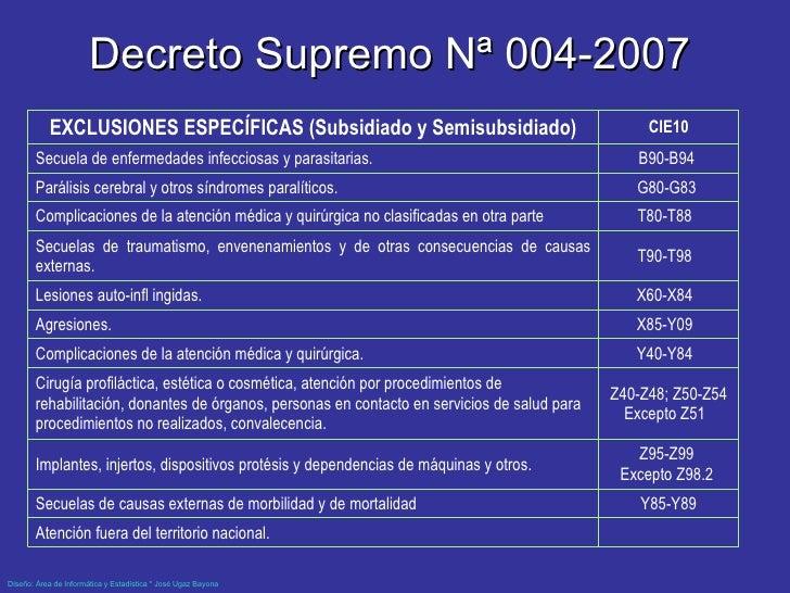 Decreto Supremo Nª 004-2007  Atención fuera del territorio nacional.  Y85-Y89 Secuelas de causas externas de morbilidad y...