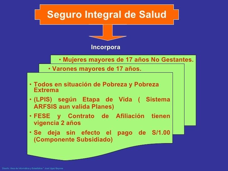 Seguro Integral de Salud <ul><li>Todos en situación de Pobreza y Pobreza Extrema </li></ul><ul><li>(LPIS) según Etapa de V...