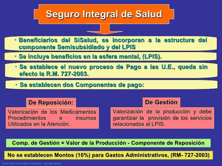 Seguro Integral de Salud <ul><li>Beneficiarios del SiSalud, se incorporan a la estructura del componente Semisubsidiado   ...