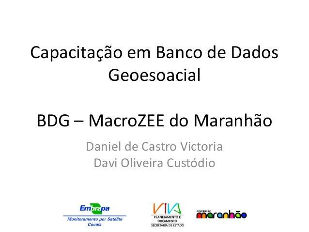 Capacitação em Banco de Dados Geoesoacial BDG – MacroZEE do Maranhão Daniel de Castro Victoria Davi Oliveira Custódio