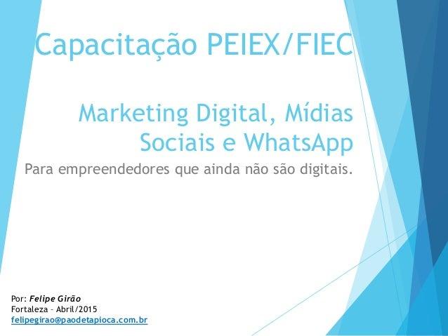 Capacitação PEIEX/FIEC Marketing Digital, Mídias Sociais e WhatsApp Para empreendedores que ainda não são digitais. Por: F...