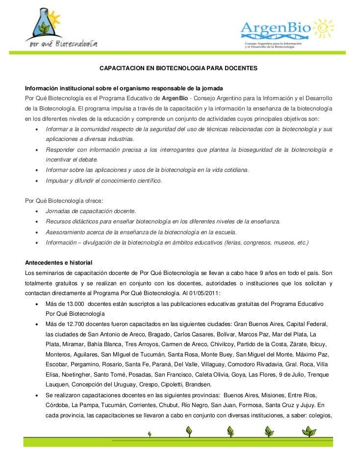 CAPACITACION EN BIOTECNOLOGIA PARA DOCENTESInformación institucional sobre el organismo responsable de la jornadaPor Qué B...