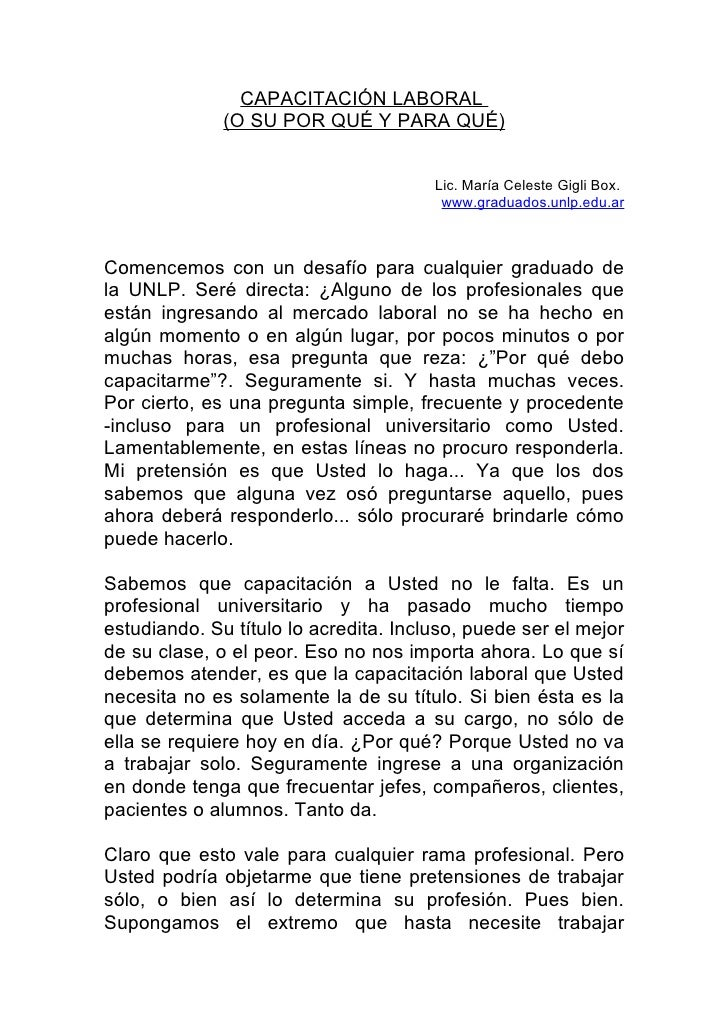 CAPACITACIÓN LABORAL               (O SU POR QUÉ Y PARA QUÉ)                                          Lic. María Celeste G...