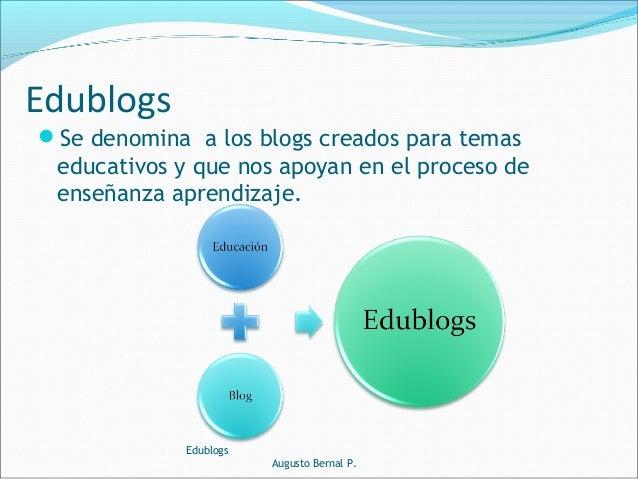 Se denomina a los blogs creados para temas educativos y que nos apoyan en el proceso de enseñanza aprendizaje. Edublogs A...