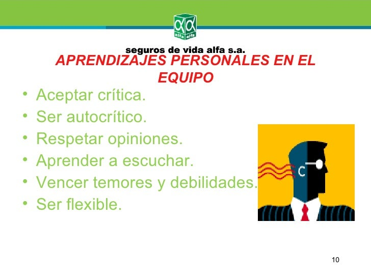 APRENDIZAJES PERSONALES EN EL                 EQUIPO•   Aceptar crítica.•   Ser autocrítico.•   Respetar opiniones.•   Apr...