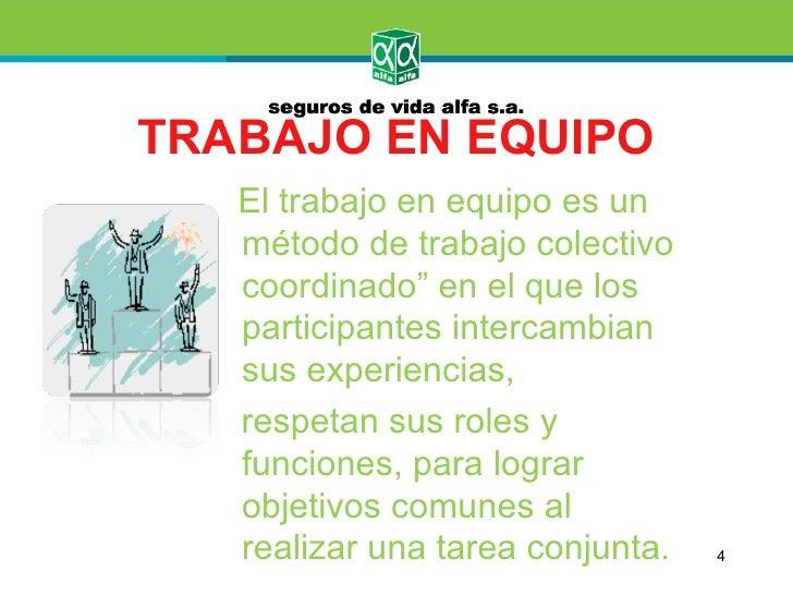 """TRABAJO EN EQUIPO   El trabajo en equipo es un   método de trabajo colectivo   coordinado"""" en el que los   participantes i..."""