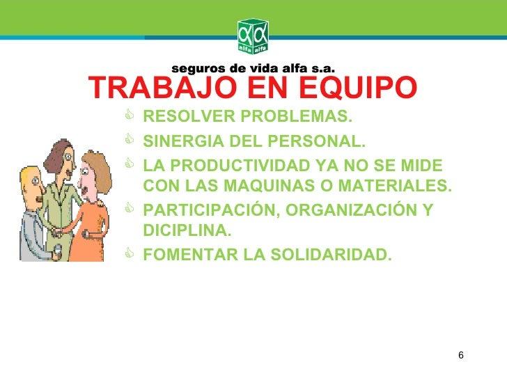TRABAJO EN EQUIPO  RESOLVER PROBLEMAS.  SINERGIA DEL PERSONAL.  LA PRODUCTIVIDAD YA NO SE MIDE   CON LAS MAQUINAS O MAT...