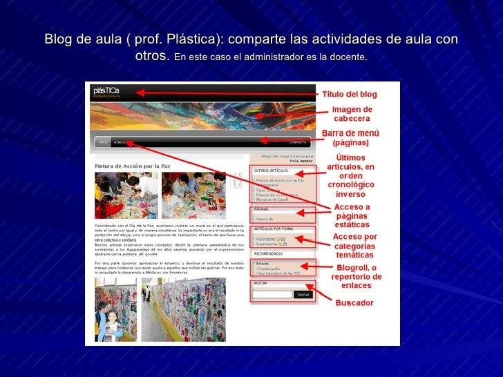 Blog de aula ( prof. Plástica): comparte las actividades de aula con otros.  En este caso el administrador es la docente.