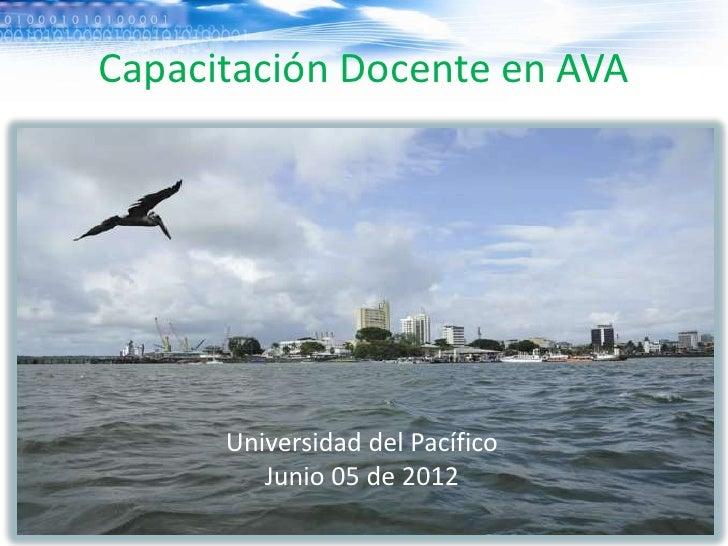 Capacitación Docente en AVA      Universidad del Pacífico         Junio 05 de 2012