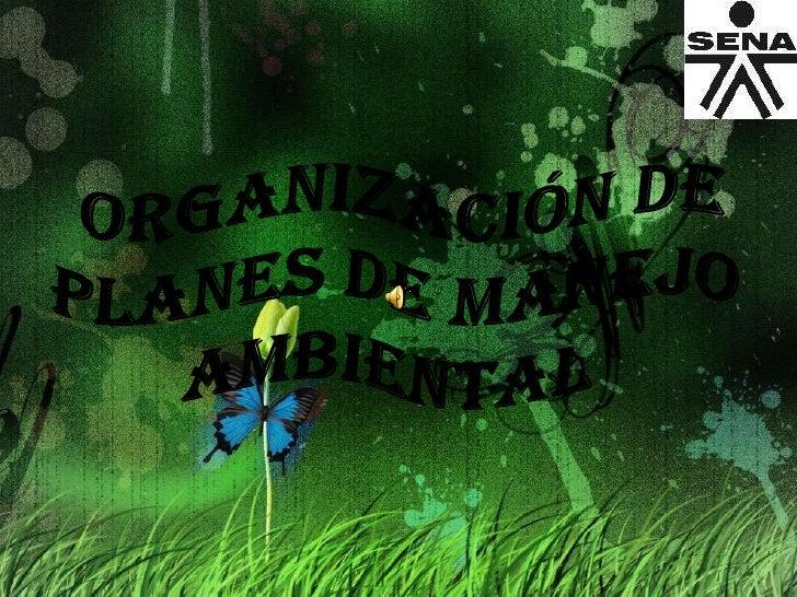 ORGANIZACIÓN DE PLANES de manejo AMBIENTAL<br />