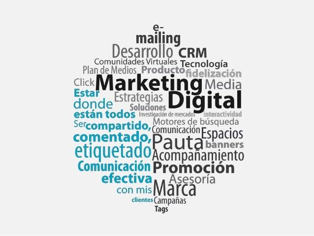El mercadeo tradicional (offline) llevado a internet, a través de recursos y herramientas de la red para conseguir algún t...