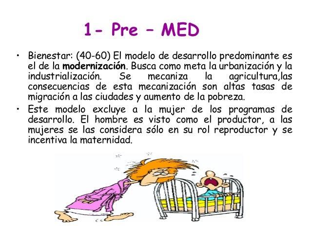 1- Pre – MED • Bienestar: (40-60) El modelo de desarrollo predominante es el de la modernización. Busca como meta la urban...