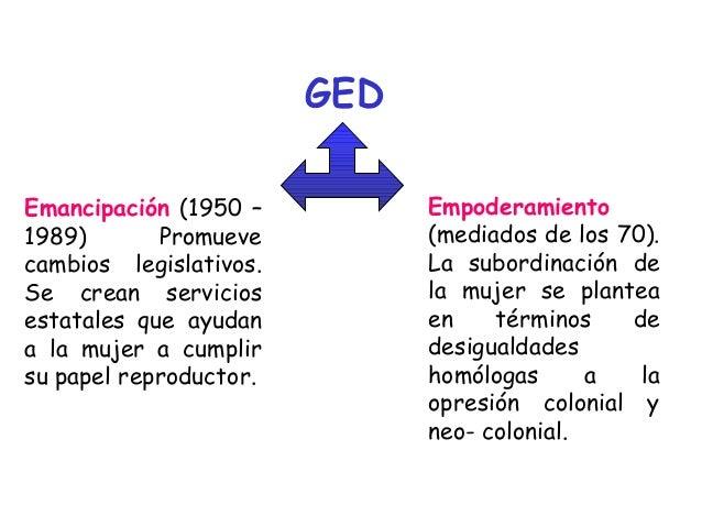GED Emancipación (1950 – 1989) Promueve cambios legislativos. Se crean servicios estatales que ayudan a la mujer a cumplir...