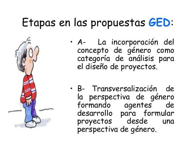 Etapas en las propuestas GED: • A- La incorporación del concepto de género como categoría de análisis para el diseño de...