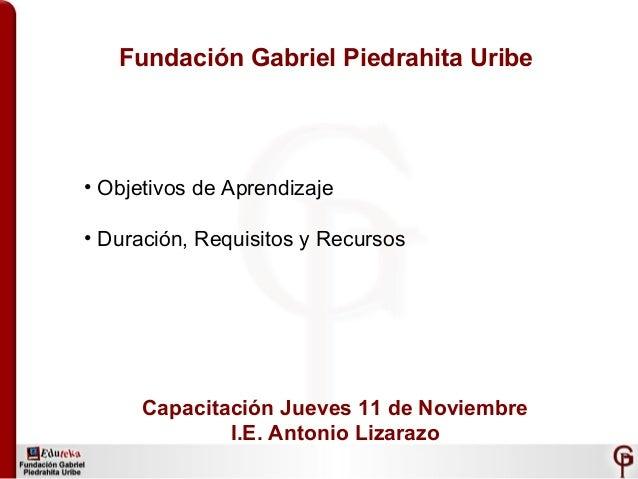 Fundación Gabriel Piedrahita Uribe • Objetivos de Aprendizaje • Duración, Requisitos y Recursos Capacitación Jueves 11 de ...
