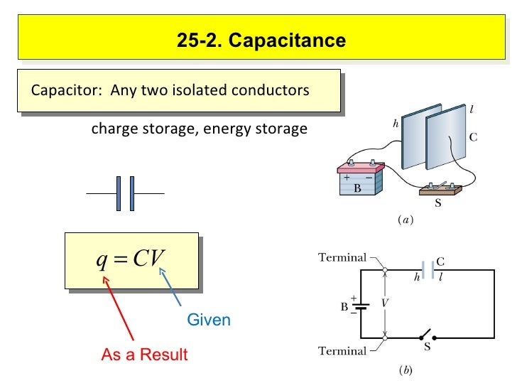 25-2. Capacitance charge storage, energy storage Given As a Result Capacitor:  Any two isolated conductors