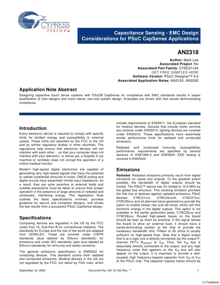 Capacitance Sensing - EMC Design                                              Considerations for PSoC CapSense Application...