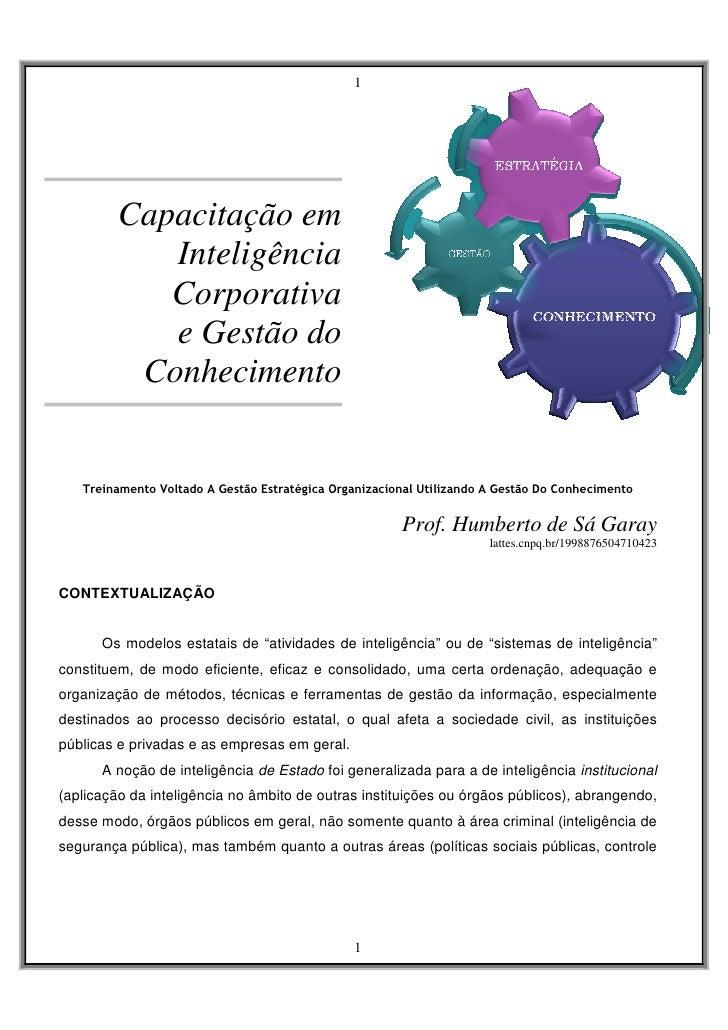 1              Capacitação em             Inteligência             Corporativa             e Gestão do           Conhecime...