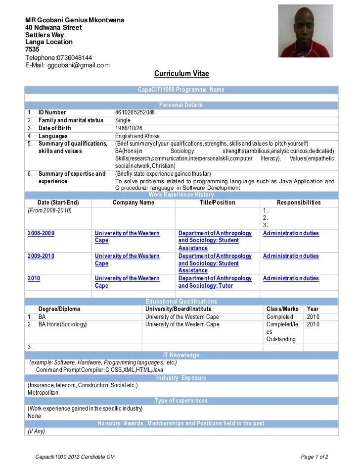 Capaciti 1000 Curriculum Vitae For Interns 3