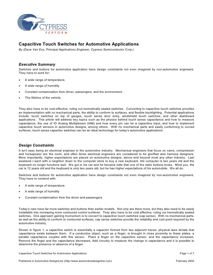 Capacitive Touch Switches for Automotive Applications By (Dave Van Ess, Principal Applications Engineer, Cypress Semicondu...