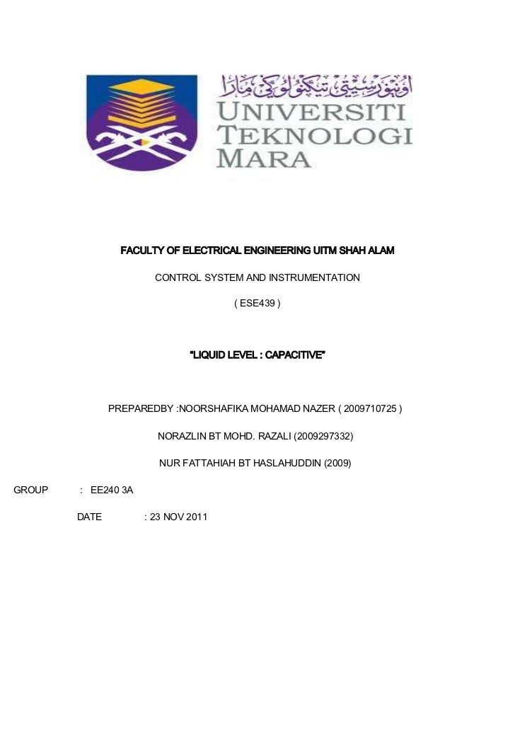 FACULTY OF ELECTRICAL ENGINEERING UITM SHAH ALAM                       CONTROL SYSTEM AND INSTRUMENTATION                 ...
