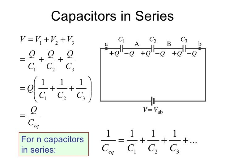 capacitor and equivalent capacitance I know that equivalent capacitance of multiple capacitors in series is $$ c = \left the definition of equivalent capacitance between two points $a$ and $b$ is.