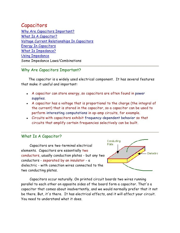 CapacitorsWhy Are Capacitors Important?What Is A Capacitor?Voltage Current Relationships In CapacitorsEnergy In Capacitors...