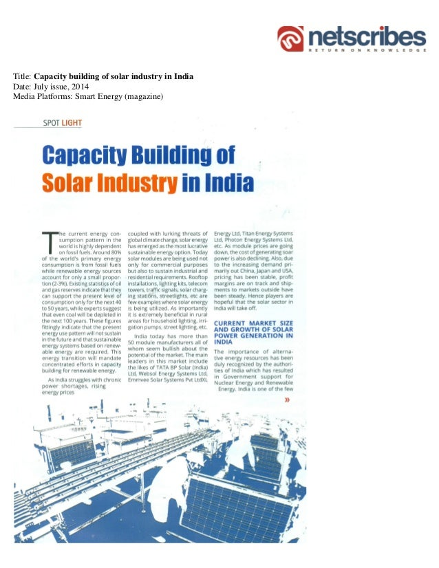 Title: Capacity building of solar industry in India Date: July issue, 2014 Media Platforms: Smart Energy (magazine)