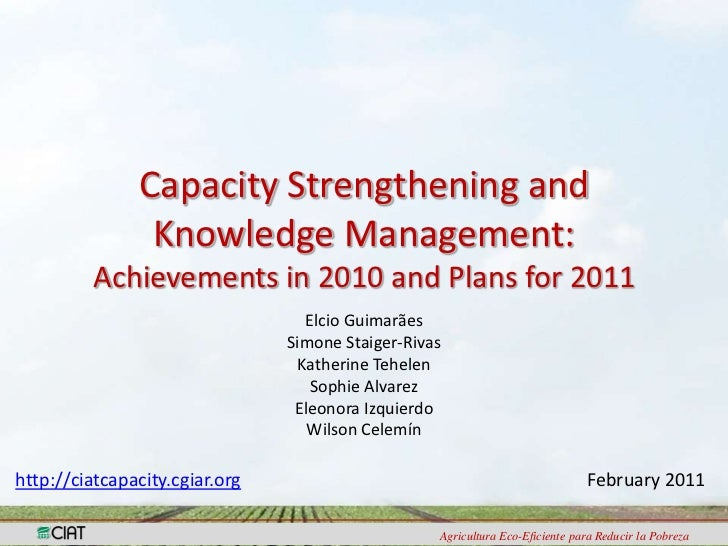 Capacity Strengthening and Knowledge Management:Achievements in 2010 and Plans for 2011<br />Elcio Guimarães<br />Simone S...