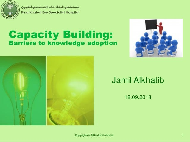 Capacity Building: Barriers to knowledge adoption Jamil Alkhatib 18.09.2013 1Copyrights © 2013 Jamil Alkhatib