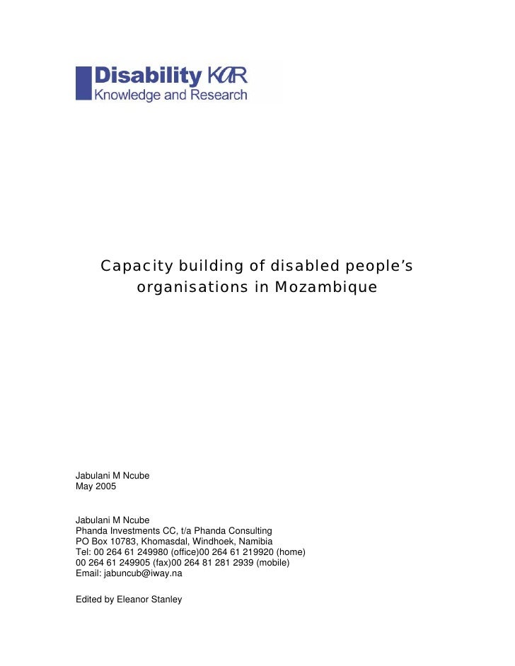 Capacity building of disabled people's         organisations in Mozambique     Jabulani M Ncube May 2005   Jabulani M Ncub...