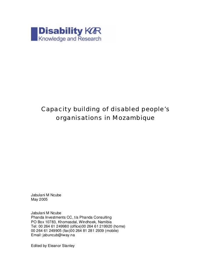Capacity building of disabled people's         organisations in Mozambique     Jabulani M Ncube May 2005   Jabulani M Ncub...