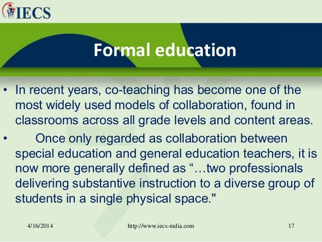 Collaborative Teaching With Special Education ~ Capacity building through collaborative effort in formal