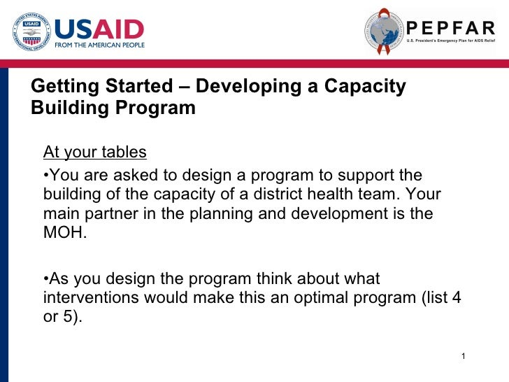 Getting Started – Developing a Capacity Building Program <ul><li>At your tables </li></ul><ul><li>You are asked to design ...