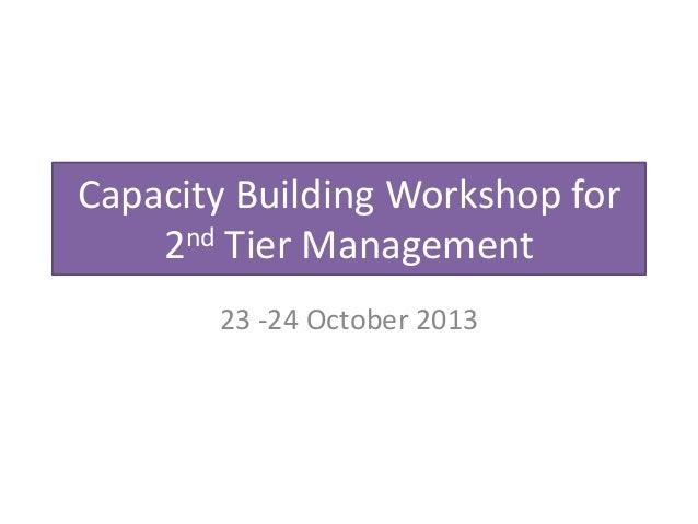 Capacity Building Workshop for 2nd Tier Management 23 -24 October 2013