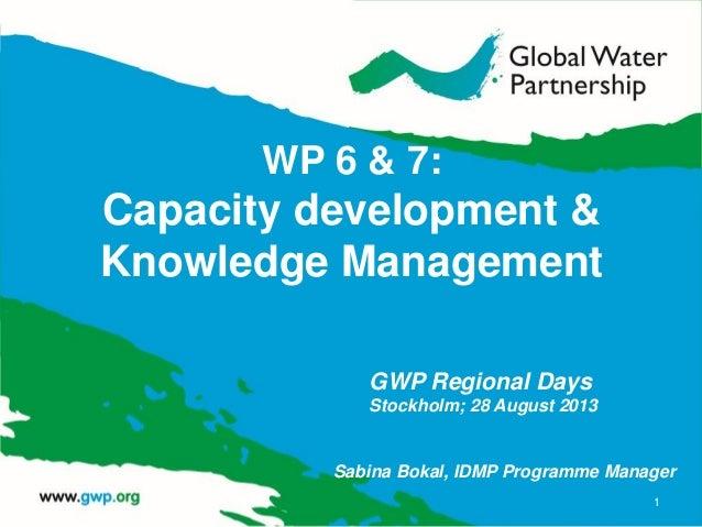 WP 6 & 7: Capacity development & Knowledge Management 1 GWP Regional Days Stockholm; 28 August 2013 Sabina Bokal, IDMP Pro...