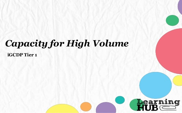 Capacity for High Volume iGCDP Tier 1