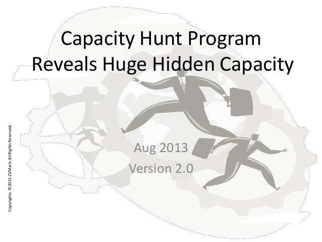 Copyrights©2013CVMark.AllRightsReserved. Capacity Hunt Program Reveals Huge Hidden Capacity Aug 2013 Version 2.0