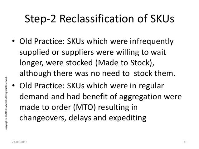 Copyrights©2013CVMark.AllRightsReserved. Step-2 Reclassification of SKUs • Old Practice: SKUs which were infrequently supp...