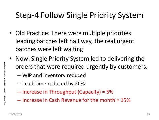 Copyrights©2013CVMark.AllRightsReserved. Step-4 Follow Single Priority System • Old Practice: There were multiple prioriti...