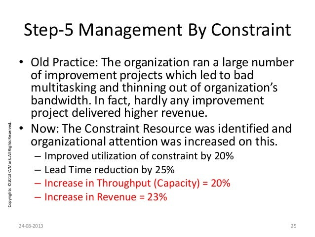 Copyrights©2013CVMark.AllRightsReserved. Step-5 Management By Constraint • Old Practice: The organization ran a large numb...