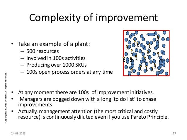 Copyrights©2013CVMark.AllRightsReserved. Complexity of improvement • Take an example of a plant: – 500 resources – Involve...