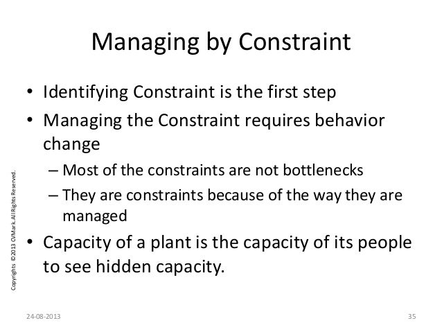 Copyrights©2013CVMark.AllRightsReserved. Managing by Constraint • Identifying Constraint is the first step • Managing the ...