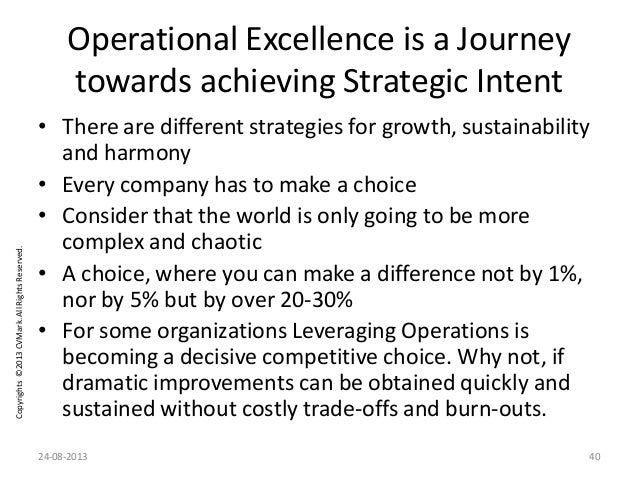 Copyrights©2013CVMark.AllRightsReserved. Operational Excellence is a Journey towards achieving Strategic Intent • There ar...
