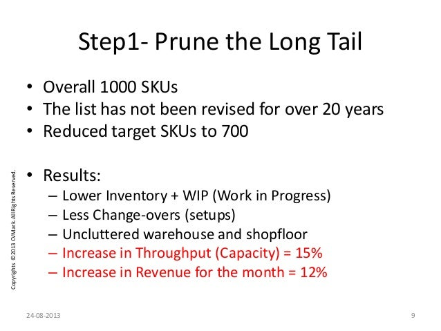 Copyrights©2013CVMark.AllRightsReserved. Step1- Prune the Long Tail • Overall 1000 SKUs • The list has not been revised fo...