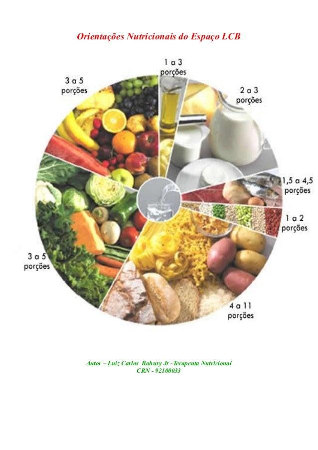 Orientações Nutricionais do Espaço LCB Autor – Luiz Carlos Bahury Jr -Terapeuta Nutricional CRN - 92100033