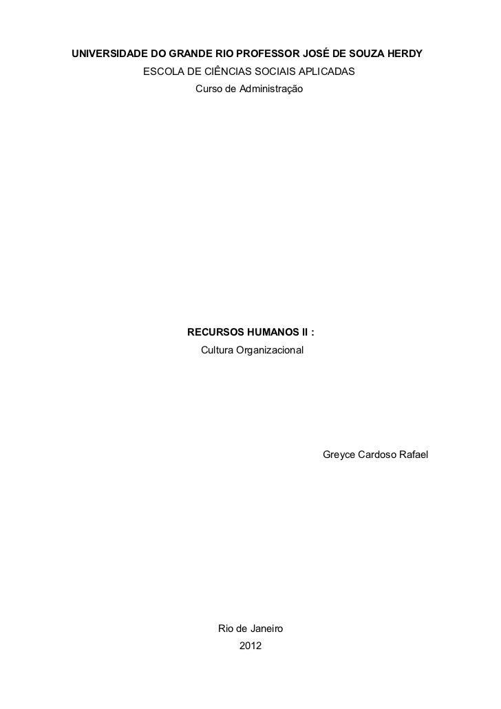UNIVERSIDADE DO GRANDE RIO PROFESSOR JOSÉ DE SOUZA HERDY           ESCOLA DE CIÊNCIAS SOCIAIS APLICADAS                   ...