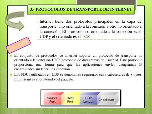 3.2.- TCPTCP (protocolo de control de transmisión) se diseñó específicamente paraproporcionar un flujo de bytes confiable ...